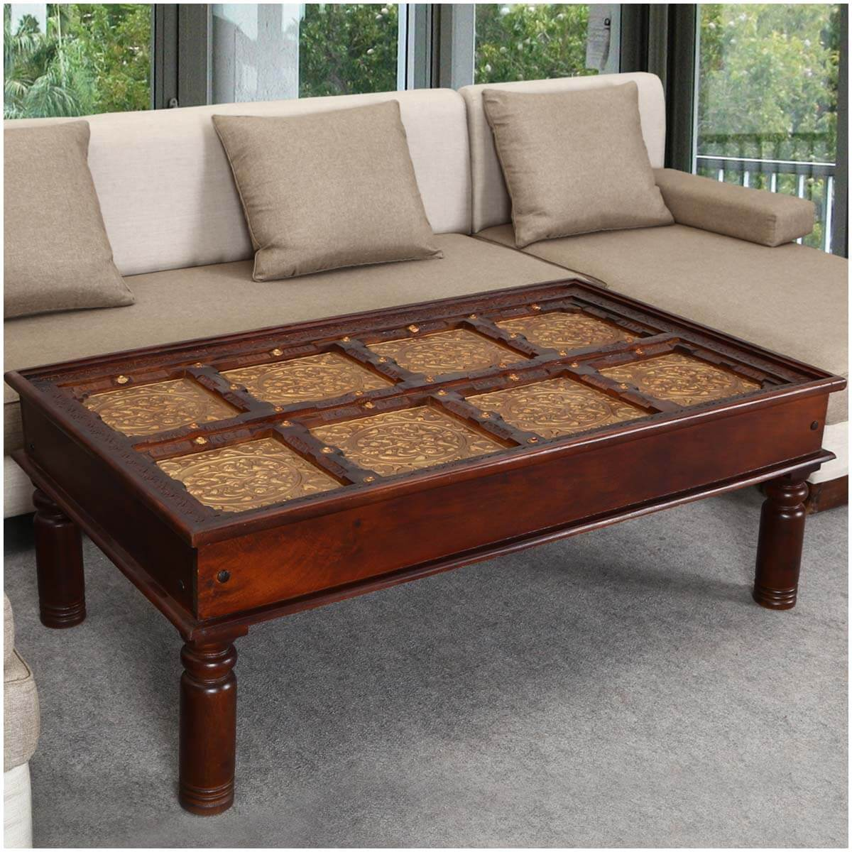 Royal Brass Accent Wood Cocktail Large Coffee Table