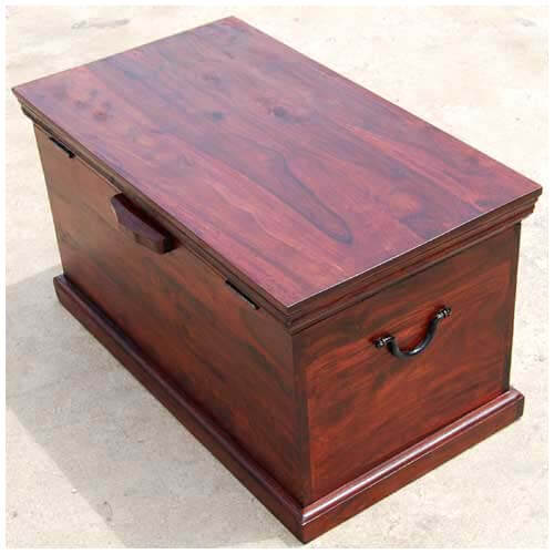 Cherry Wood Trunk Coffee Table: Rustic Cherry Storage Trunk Toy Chest Wood Coffee Table