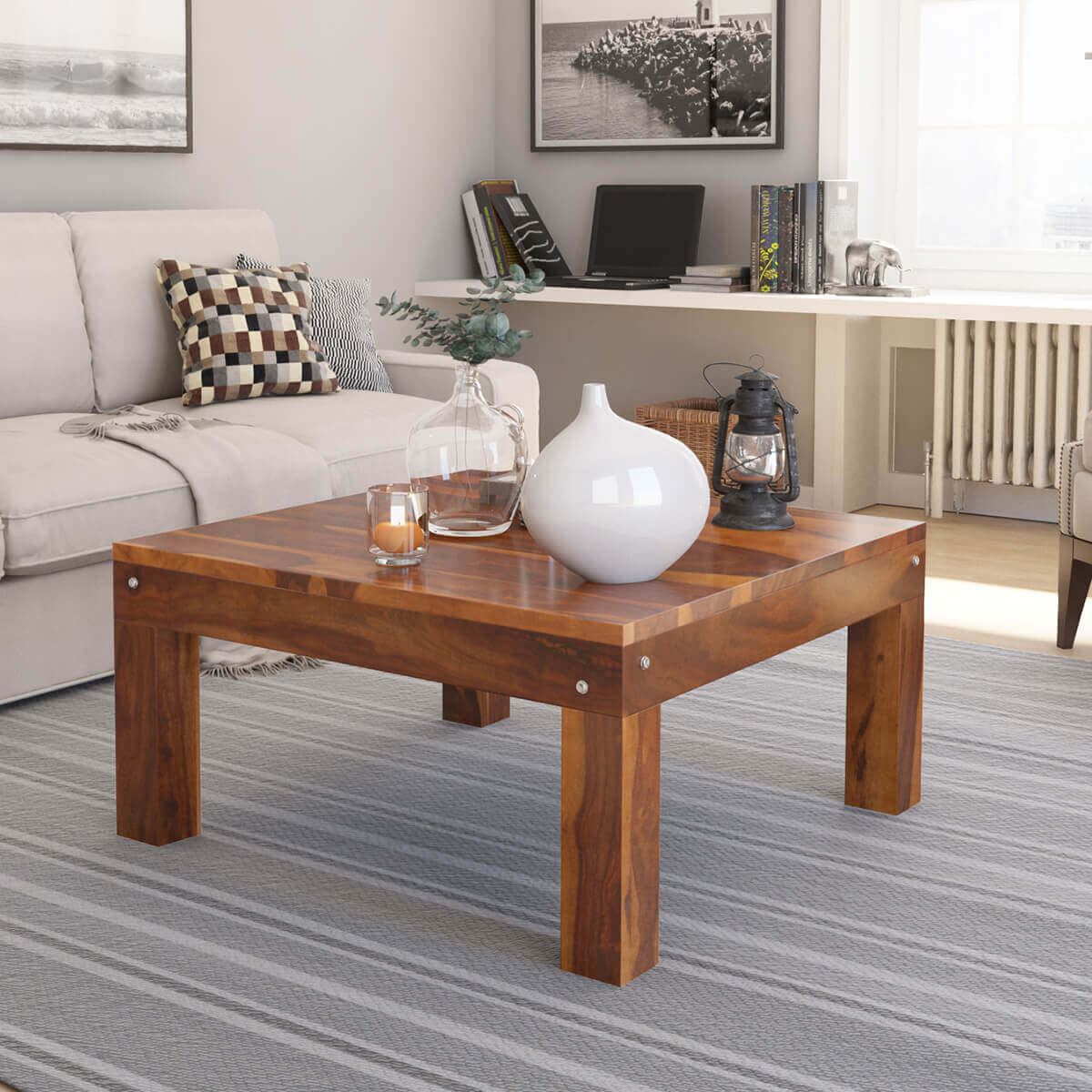 Solid wood traditional rustic square coffee table for Large wood coffee table square