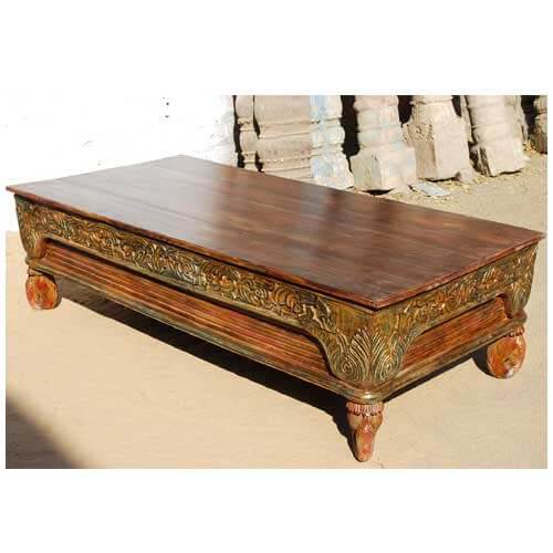 Rustic mango wood hand carved sofa cocktail coffee table Hand carved coffee table