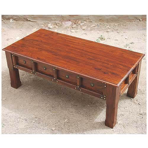 Solid Wood And Metal Coffee Table: Jaipur Solid Wood Metal Accents Coffee Cocktail Table