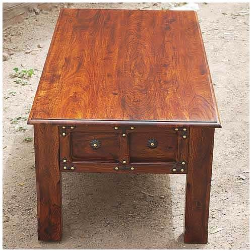 Jaipur Solid Wood Metal Accents Coffee Cocktail Table