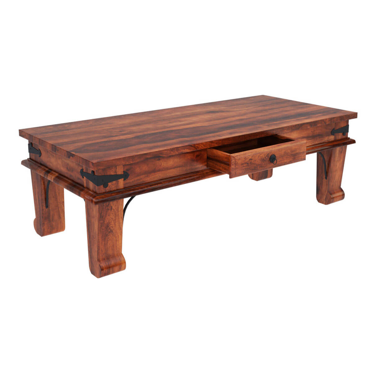 Solid Wood Coffee Tables ~ Rustic solid wood rectangular one drawer urban shaker