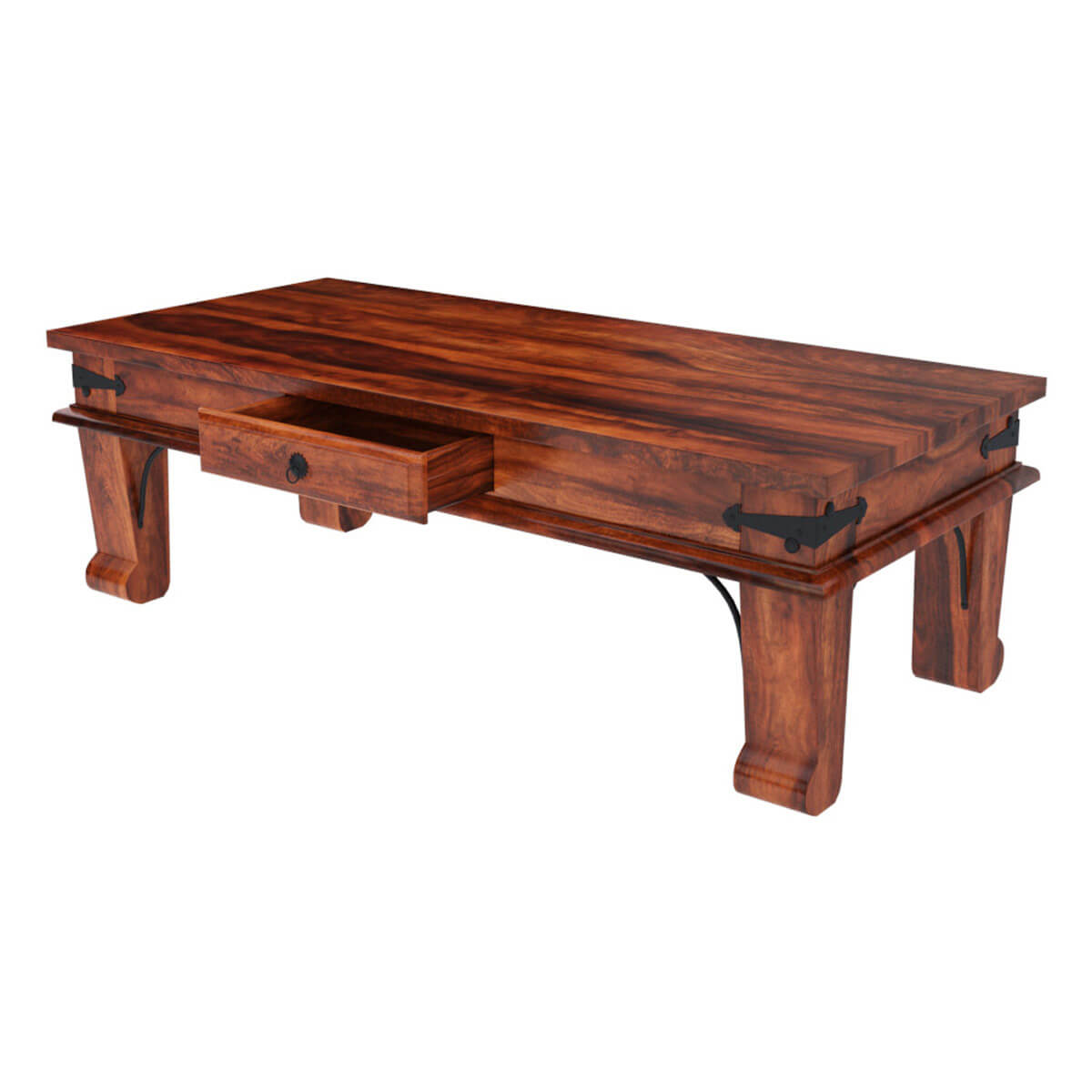 Rustic Solid Wood Rectangular One Drawer Urban Shaker Coffee Table