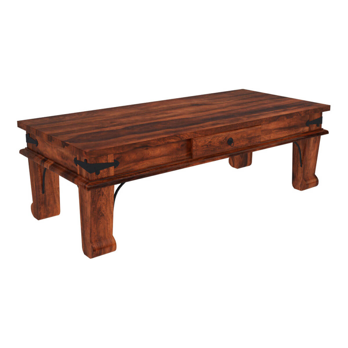 Rustic All Wood Coffee Table: Rustic Solid Wood Rectangular One Drawer Urban Shaker
