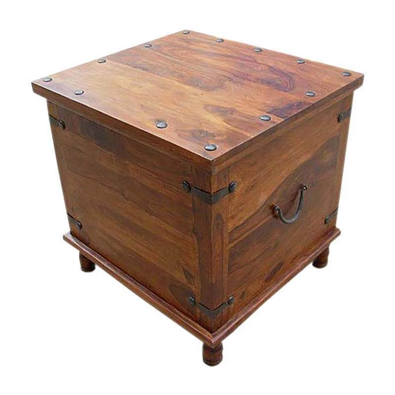 Square wood with metal storage trunk box accent table Coffee and accent tables