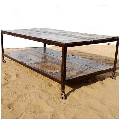 Rustic Walnut Weathered Two Tier Coffee Table On Rollers
