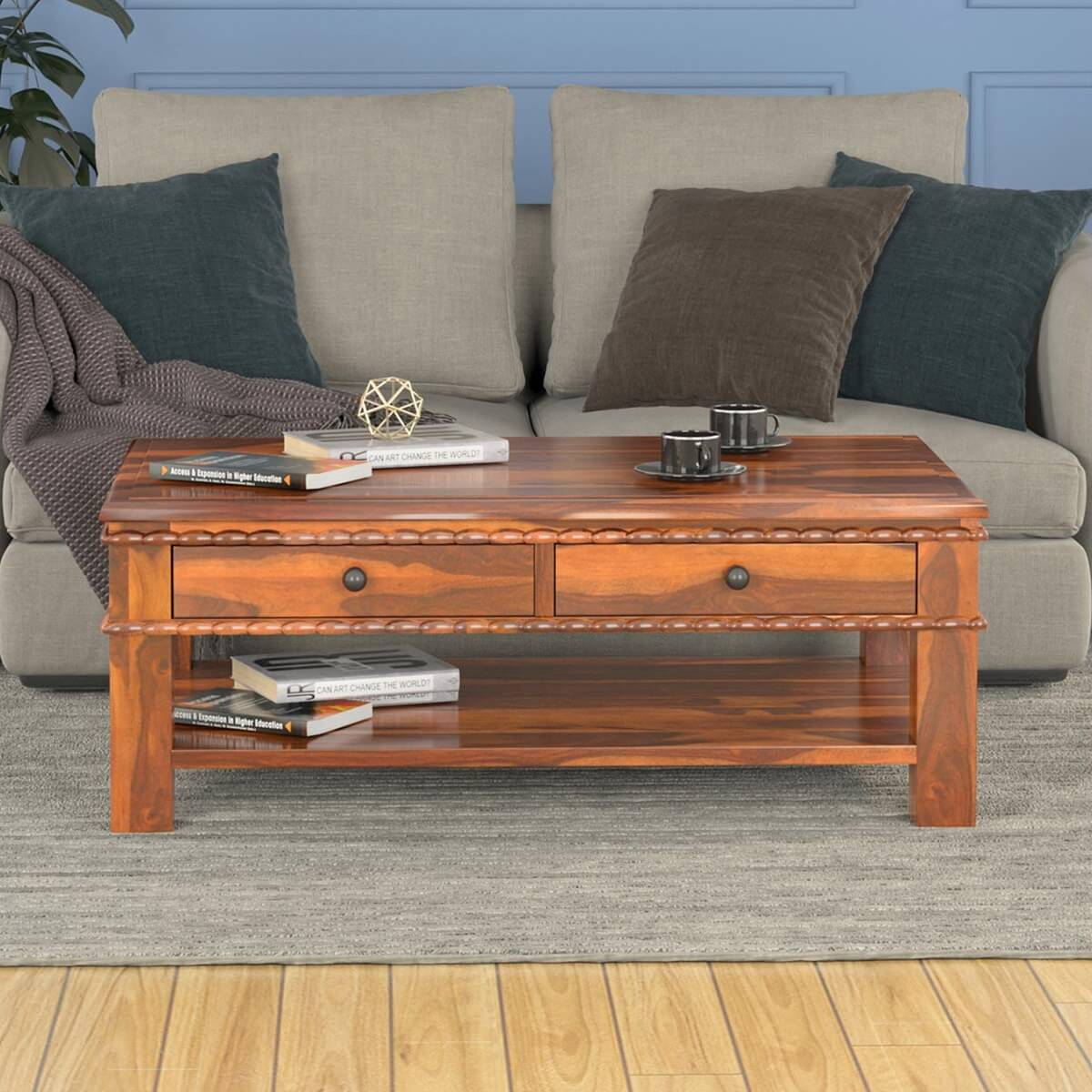 Solid Wood Carved Border 2 Tier Coffee Table With Drawers