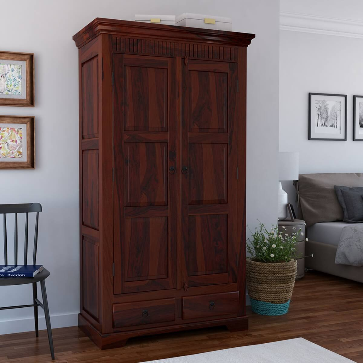 marengo rustic solid wood handcrafted 2 drawer armoire. Black Bedroom Furniture Sets. Home Design Ideas