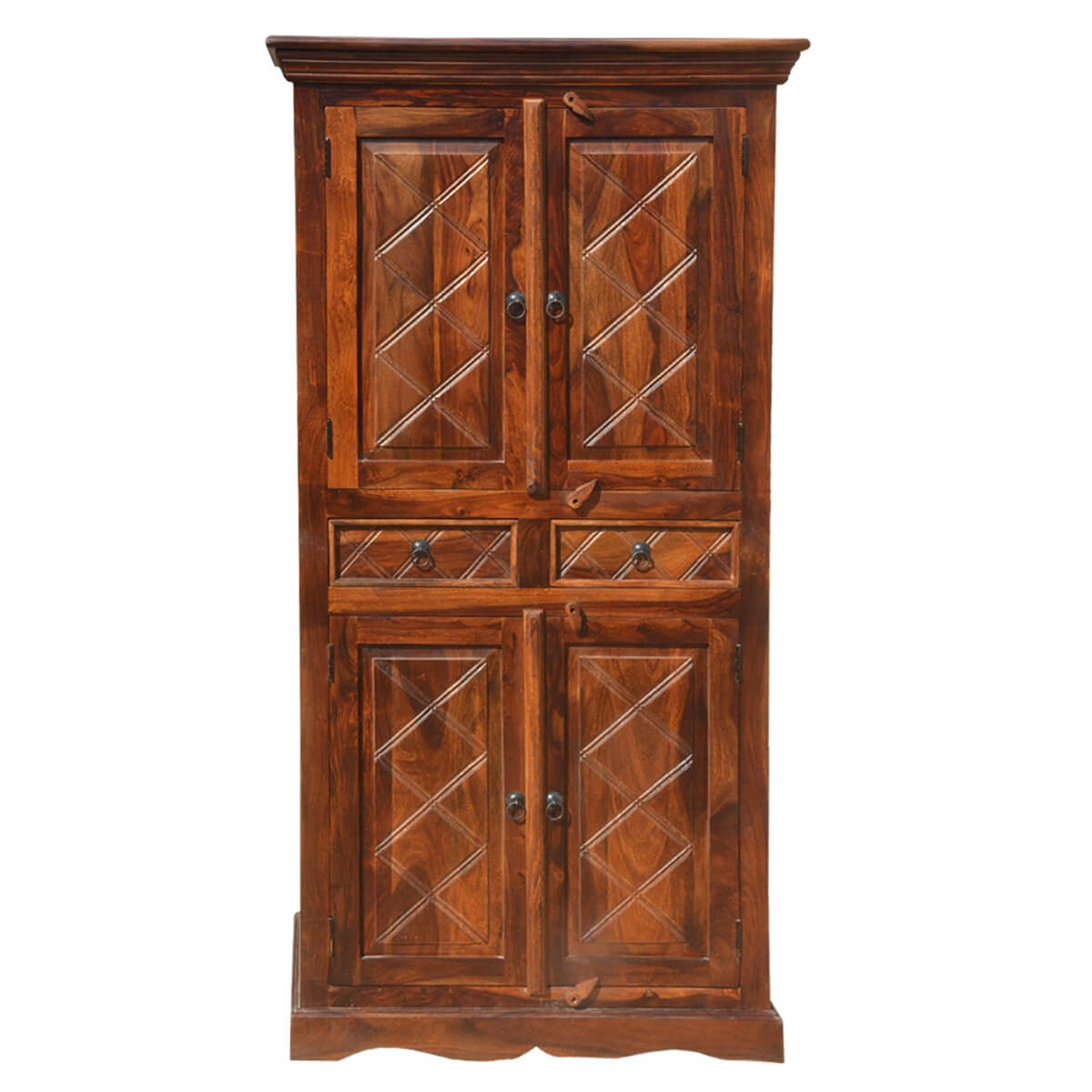 Rustic Wood 2 Storage Drawers Cupboard Wardrobe Armoire
