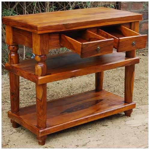 Rustic wood storage drawers entry console hall table