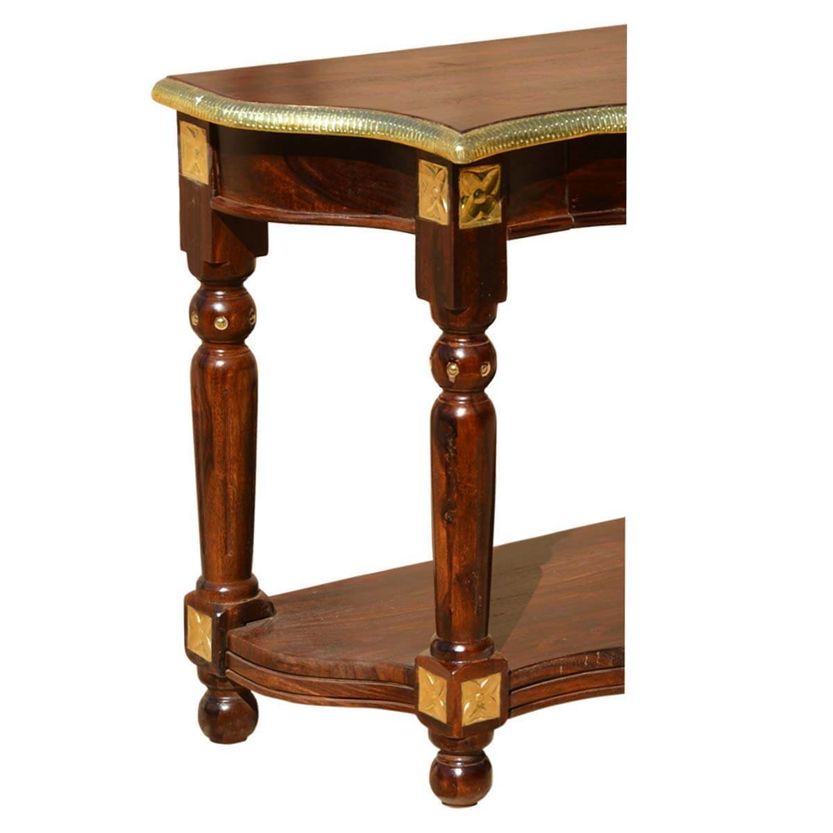 Solid wood brass strip work console foyer hall table