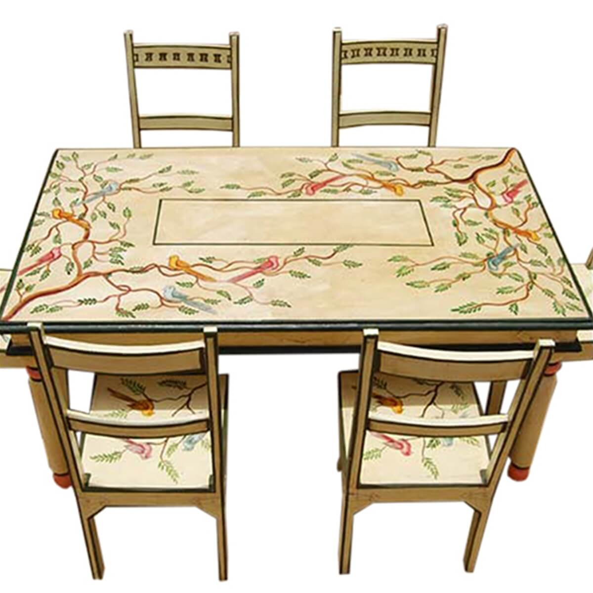 Painted Dining Room Sets: Birds Of Paradise Hand Painted 7Pc Country Dining Table