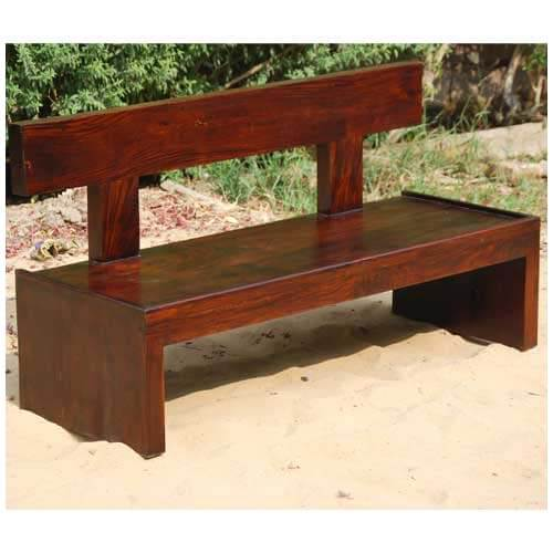 Block style solid wood indoor outdoor bench furniture for Outdoor furniture benches