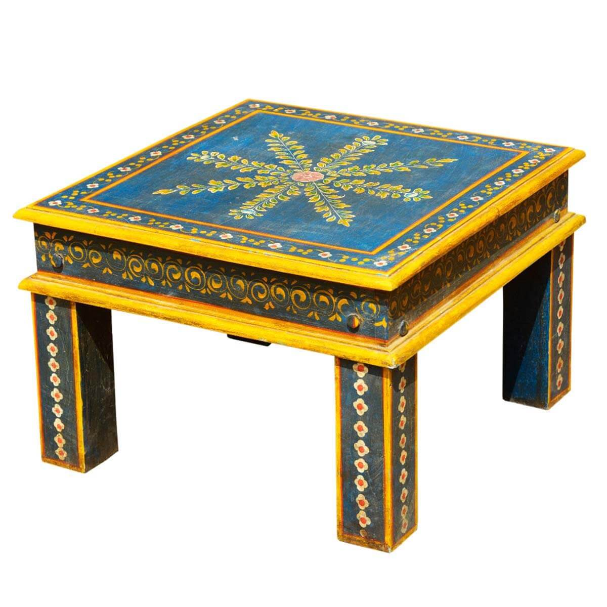 Blue Hand Painted Square Wood Rustic Small Side Table. Full resolution‎  picture, nominally Width 1200 Height 1200 pixels, picture with #C29C09.