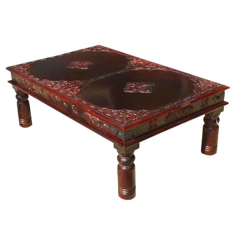 Heritage style antique brass work cocktail coffee table Antique brass coffee table