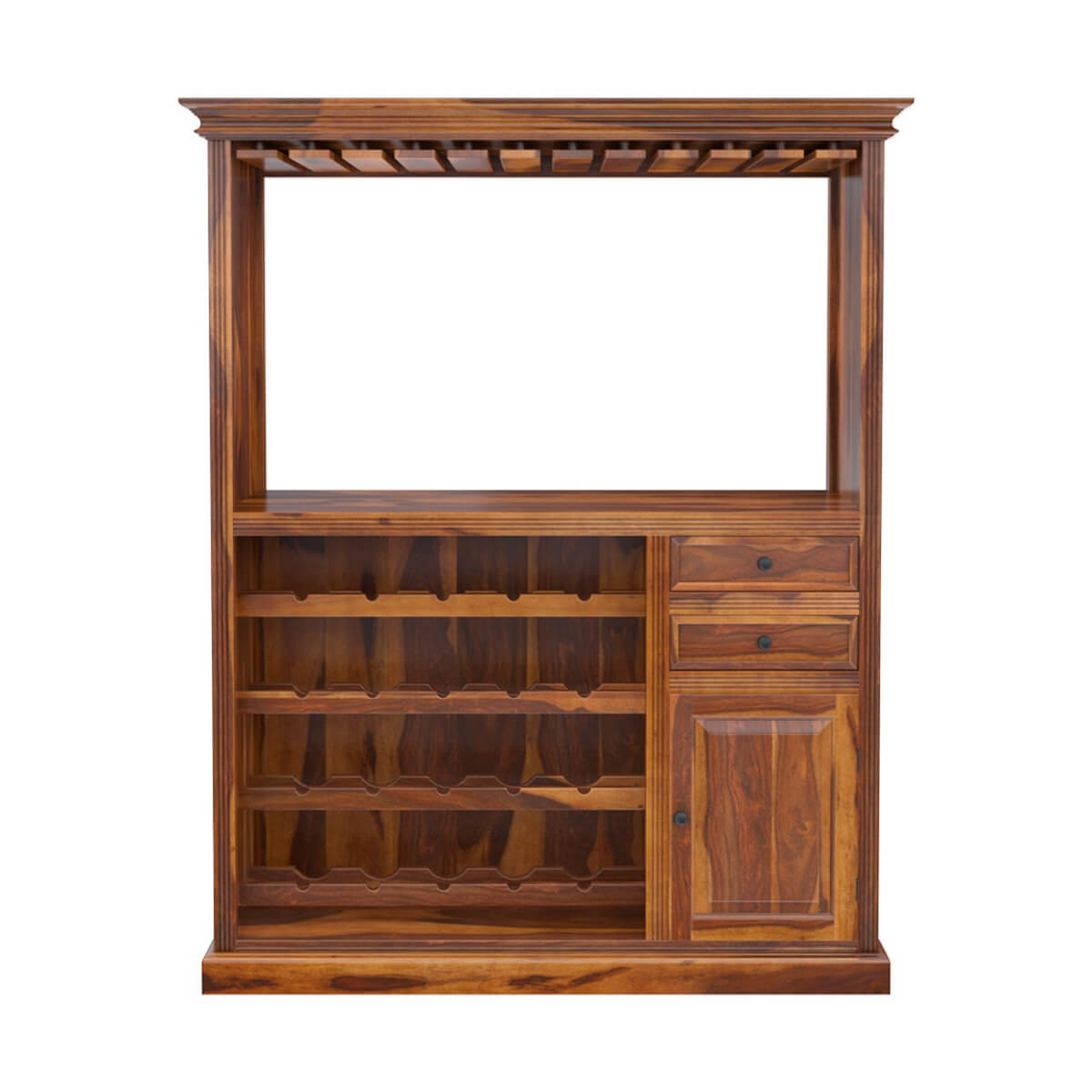 Wood Wine Bar ~ Houston handcrafted solid wood wine bar cabinet with glass