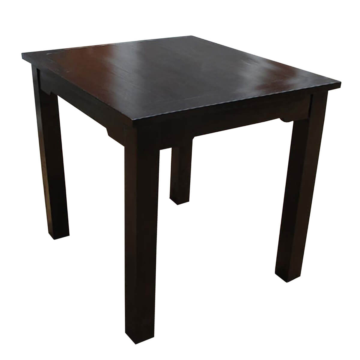 Casual square dining table w ebony finish made of solid wood for Solid wood dining table