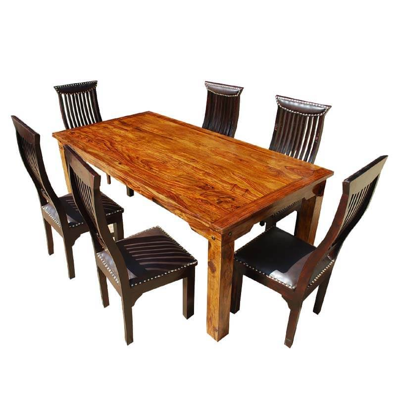 lincoln 7pc contemporary solid wood leather dining room