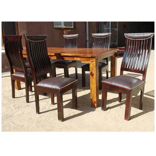 ... 7pc Contemporary Solid Wood Leather Dining Room Table Chair Set