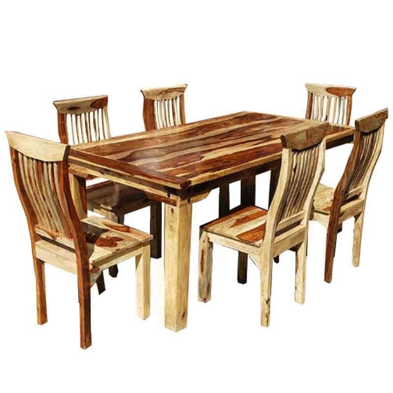Solid wood transitional 7pc dining room table chair set for Wooden dining table and chairs