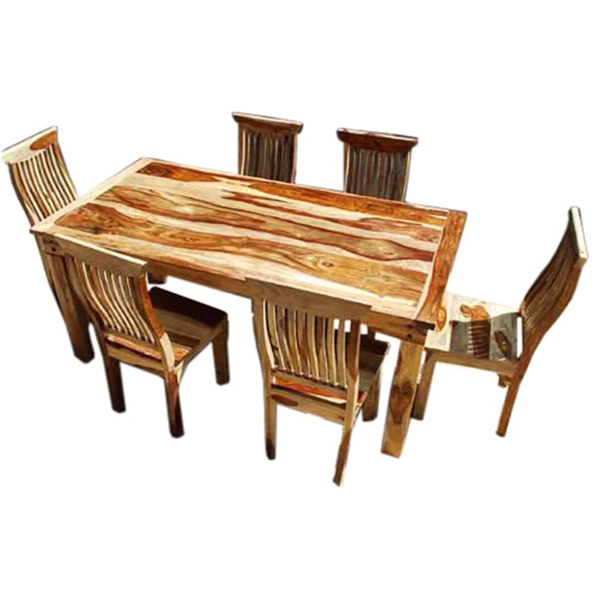 Solid Wood Kitchen Tables: 7 Piece Formal Dining Room Kitchen Table Chair Set Rustic