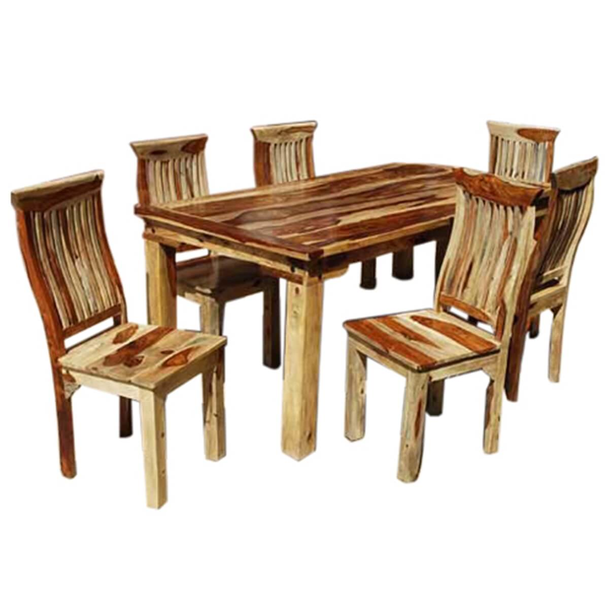7 piece formal dining room kitchen table chair set rustic for Kitchen table set 7 piece