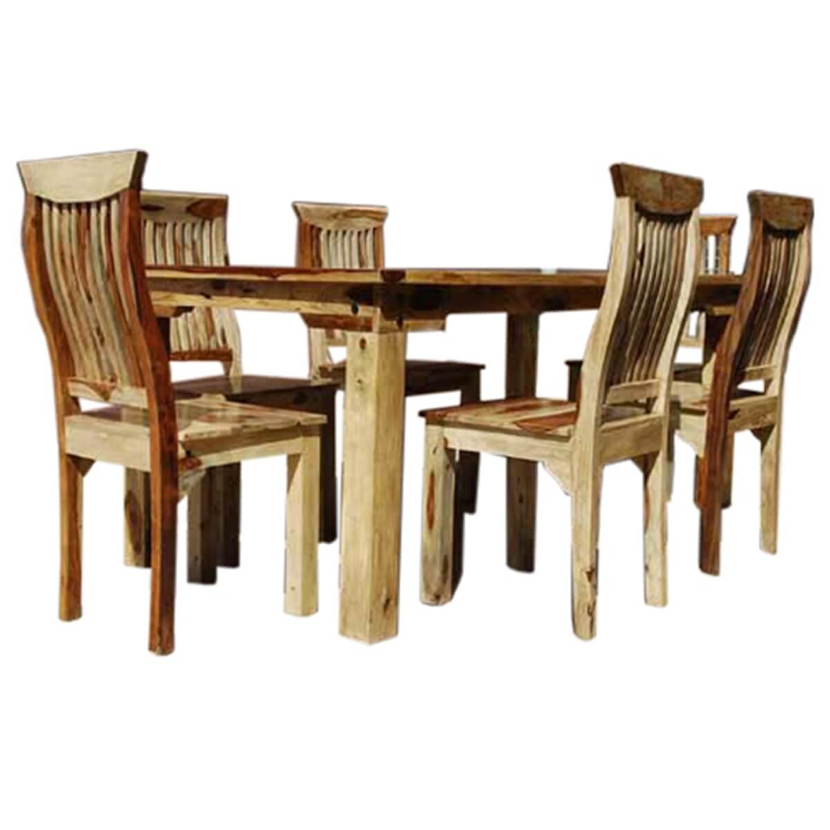 7 piece formal dining room kitchen table chair set rustic for Solid wood dining room table and chairs