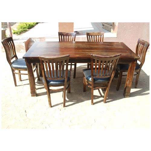 lincoln 7pc black contemporary leather dining room table chair set