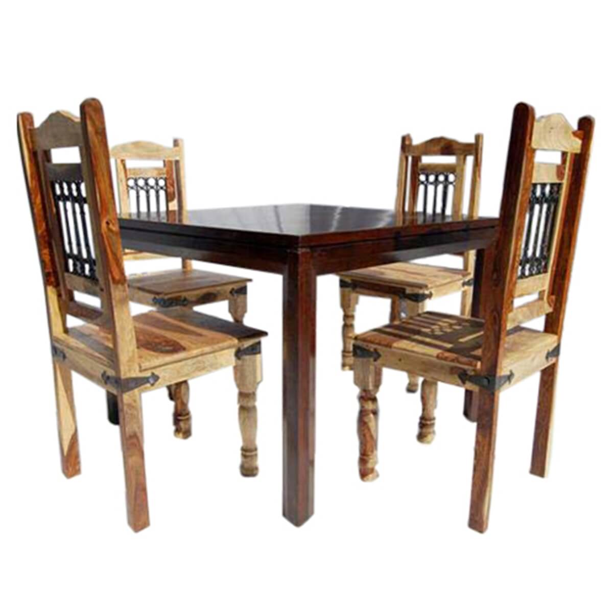 Square dining room table chairs set for Square dinette sets