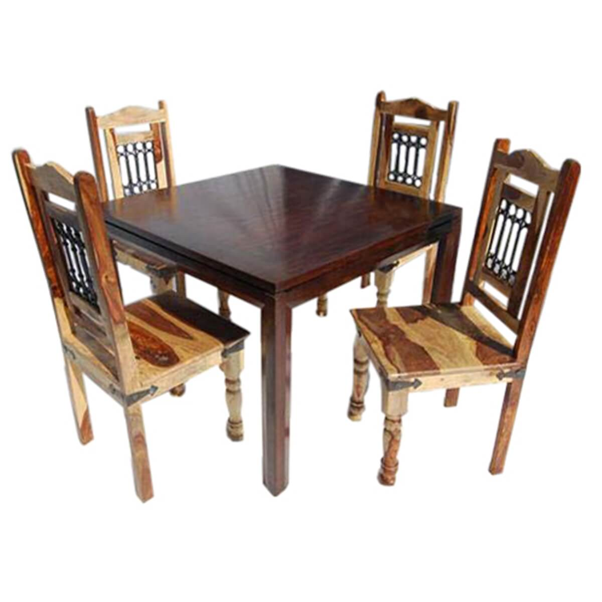 5 pc square dining room table chairs set