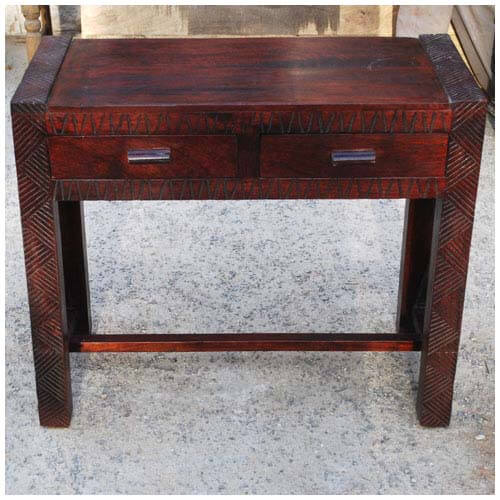 Hand Carved Console Table ~ Solid wood entryway hand carved console table
