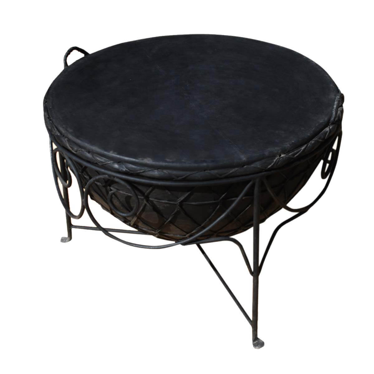 Black Wrought Iron Leather Round Tabla Drum Coffee Table