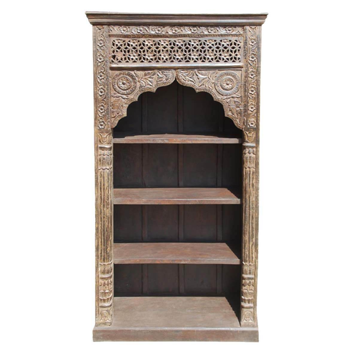 Hand Carved Bookshelf ~ New delhi primrose hand carved solid wood bookcase