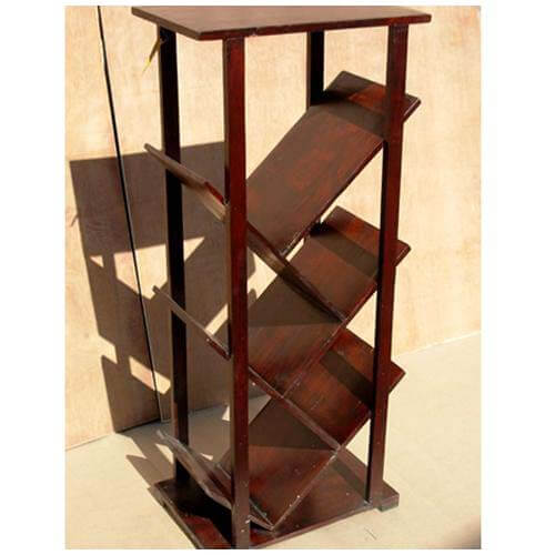 Solid Wood Angled Book Shelf Rack Stand Table Unit
