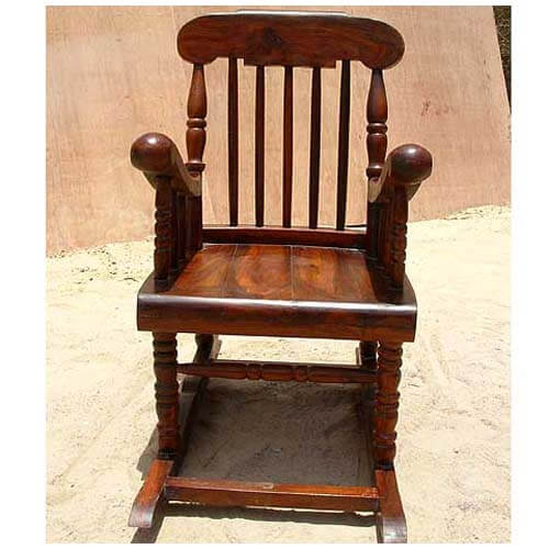 Solid Wood Glider Rocker Rocking Arms Chair New
