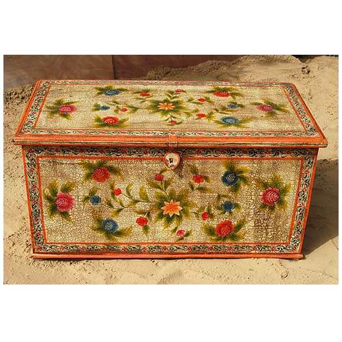 Used Solid Wood Coffee Table: Solid Hardwood Hand Painted Storage Trunk Coffee Table