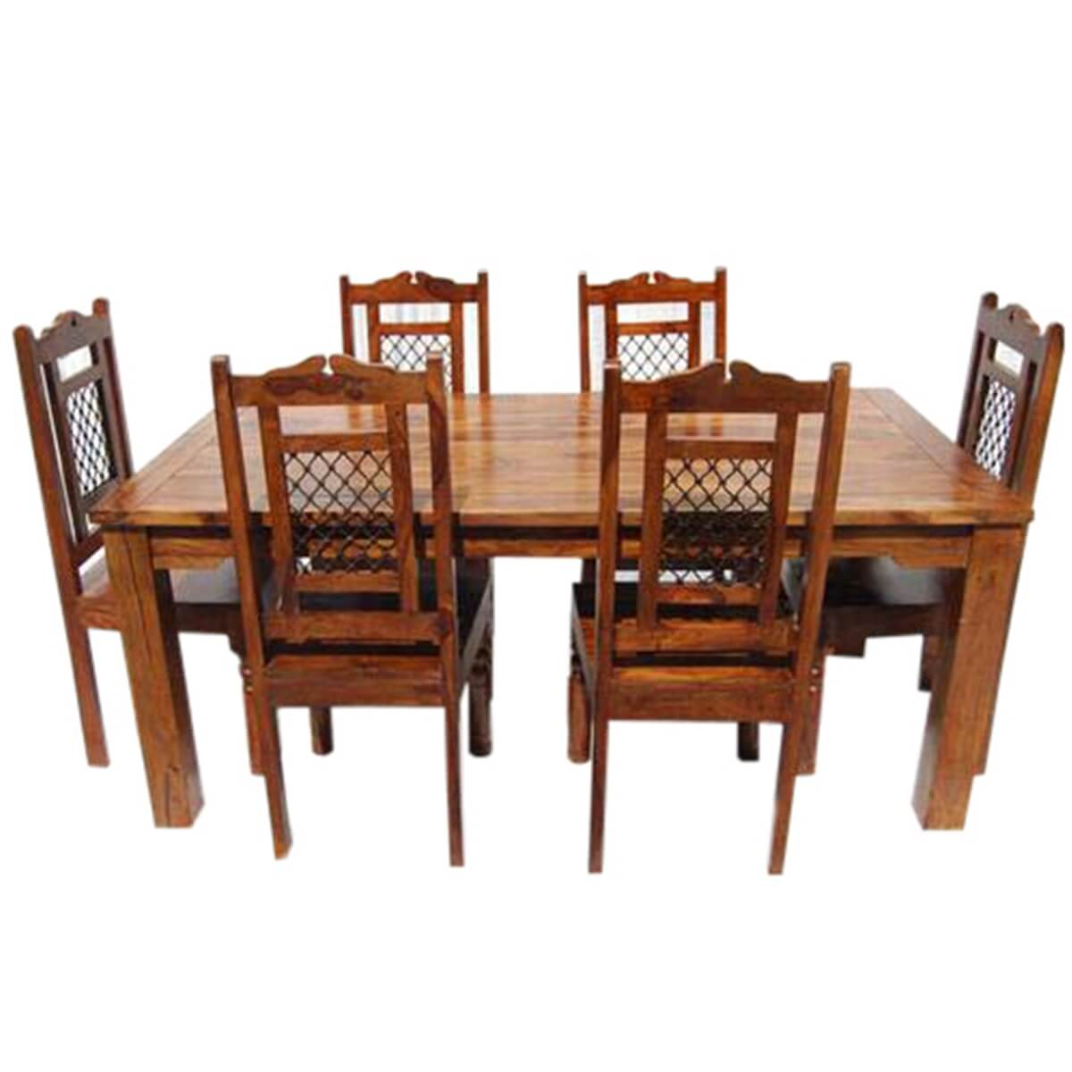 Swiss alps solid wood 7pc farmhouse dining table and chair set for Solid wood dining room table and chairs