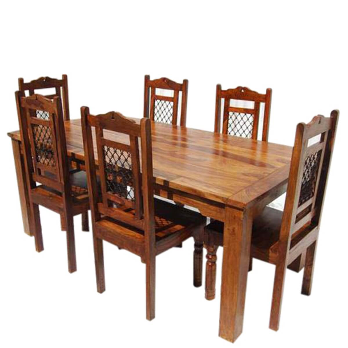 Farmhouse Dining Table And Chairs: Swiss Alps Solid Wood 7Pc Farmhouse Dining Table And Chair Set