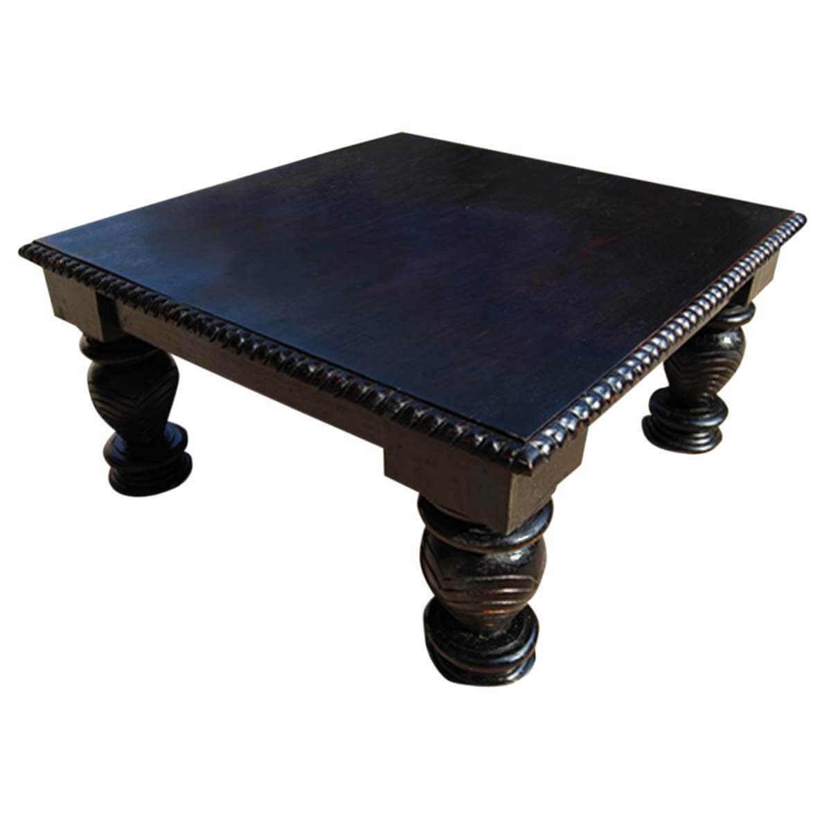 Unique carved edge mango wood black square coffee table for Unusual coffee tables