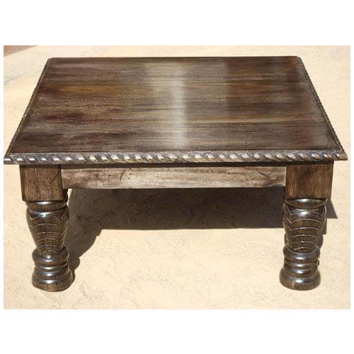 Solid Wood Carved Coffee Table: Solid Wood Hand Carved Transitional Square Lincoln Coffee