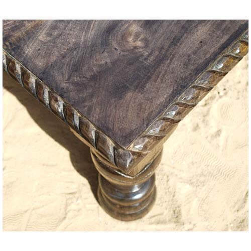 Solid wood hand carved transitional square lincoln coffee table Hand carved coffee table