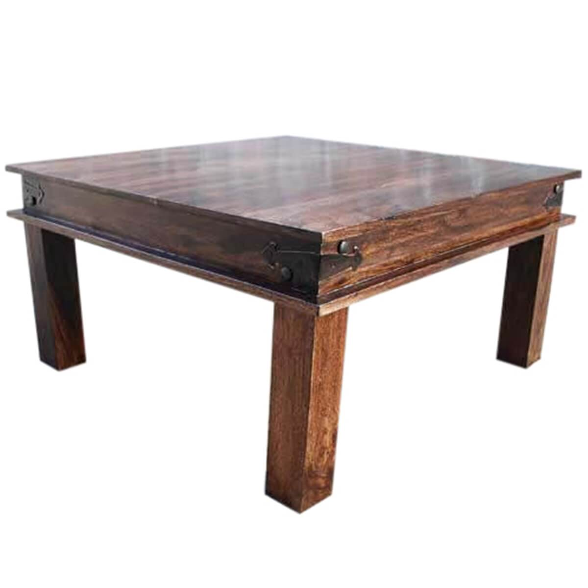 Coffee Tables Shaker Style Espresso Wood Metal Accents Square Cocktail