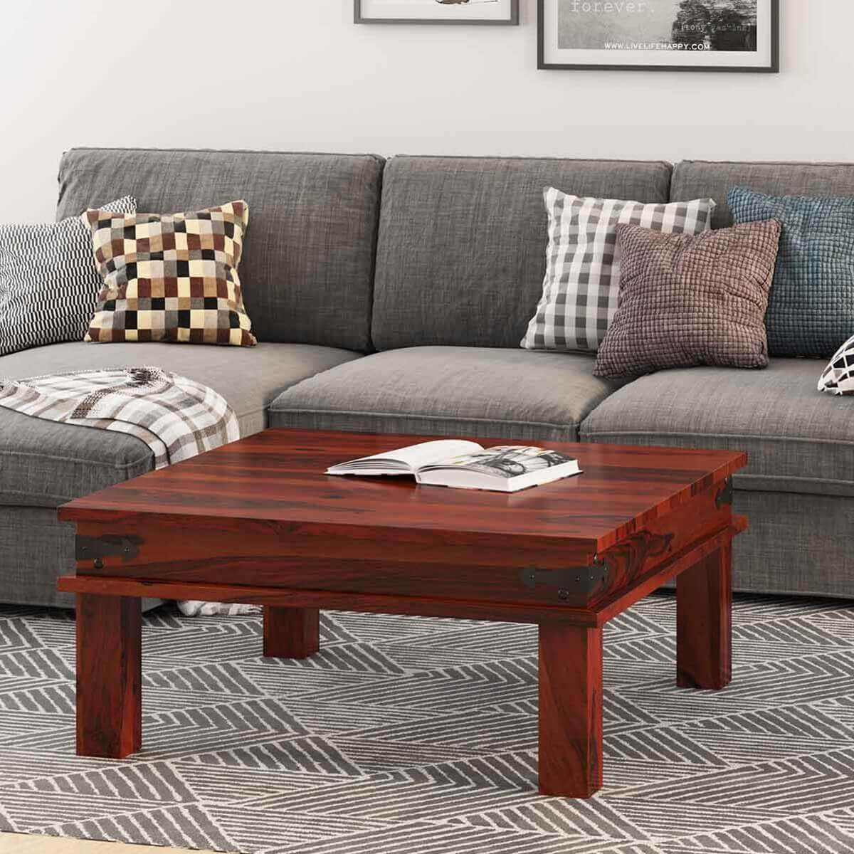 Classic traditional solid wood 34quot square coffee table for Coffee table wood