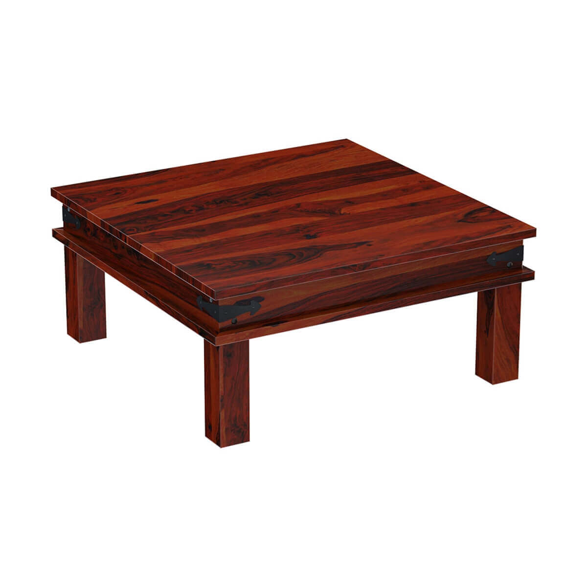Wood Square Coffee Table Classic Solid 4 Drawers