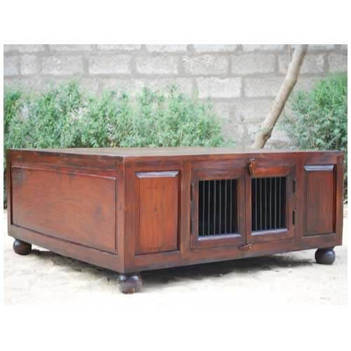 Large Coffee Tables With Storage: Solid Wood Square Cocktail Trunk Coffee Table With Storage