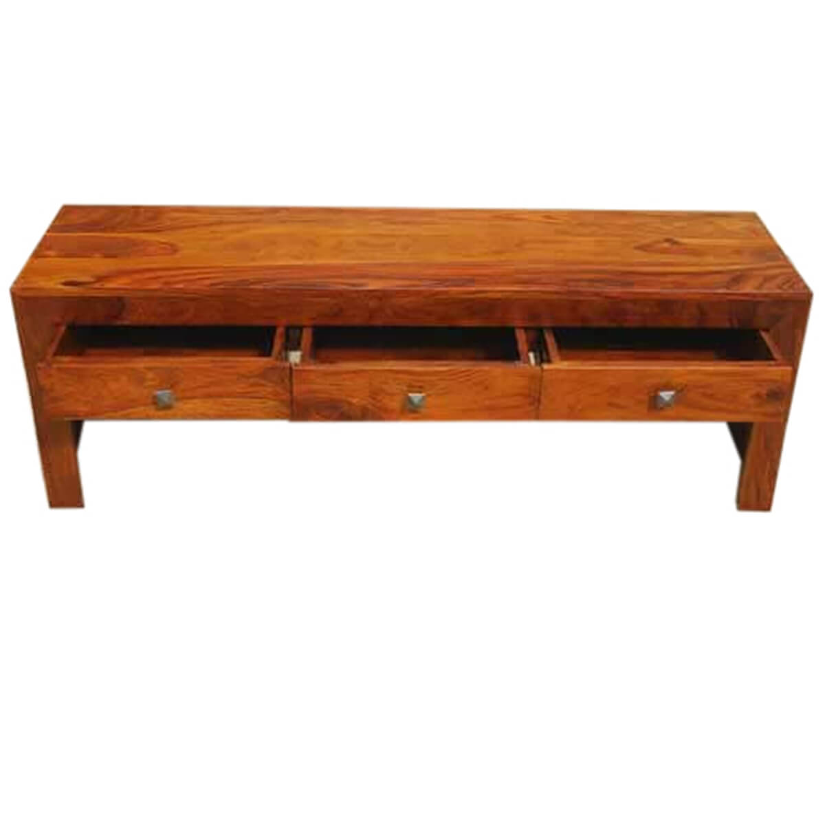 Wood Low Profile Block Style Cocktail Coffee Table W Drawers