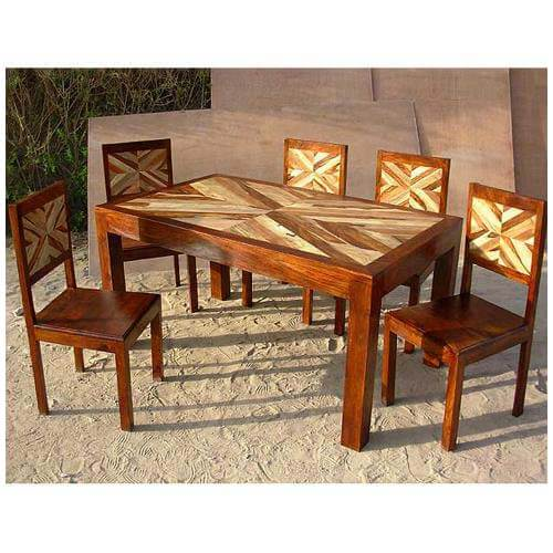 Solid Wood 7 Pc Contemporary Dining Room Table And Chair Set