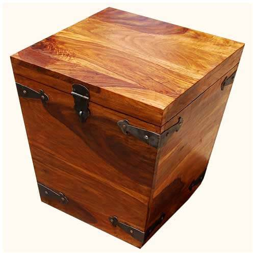 Solid Wood Square Kokanee Storage Trunk Coffee Side Table