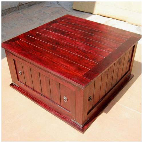 Cherry Wood Square Storage Trunk Coffee Table New
